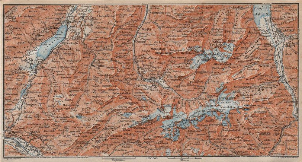 Associate Product ENGELBERG ENVIRONS. Uri/Urner Alps Titlis Blackenstock Sarnen Altorf 1913 map