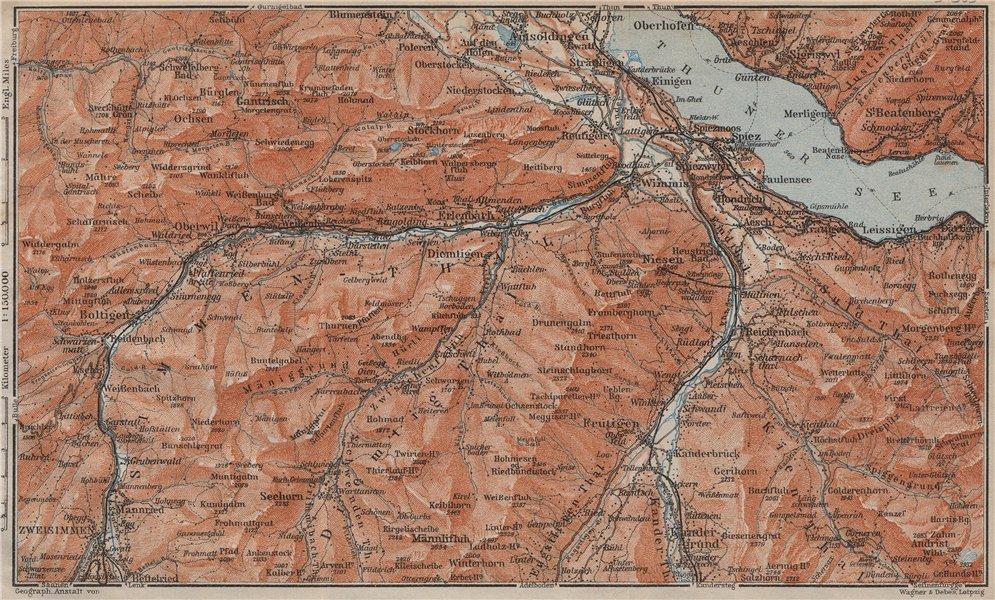 Associate Product THUNER SEE. SIMME/KANDER VALLEYS. Gantrisch Spiez Frutigen Oberwil 1913 map