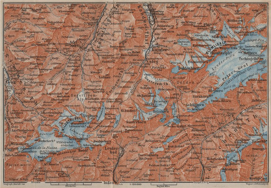 Associate Product KANDERSTEG area.Blumisalp Adelboden Wildstrubel Rinderhorn Torrenthorn 1913 map