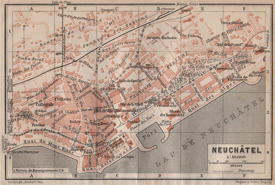 Associate Product NEUCHÂTEL / NEUENBURG. town city plan. Switzerland Suisse Schweiz 1913 old map