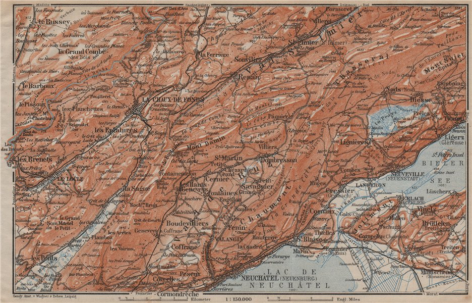 Associate Product NORTH WEST JURA. Neuchâtel La Chaux de Fonds Neuveville. Topo-map 1913 old