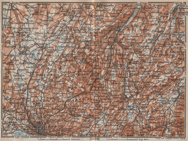 Associate Product PAYS DE VAUD North. Lausanne Moudon Romont Jorat Moudon Echallens 1913 old map