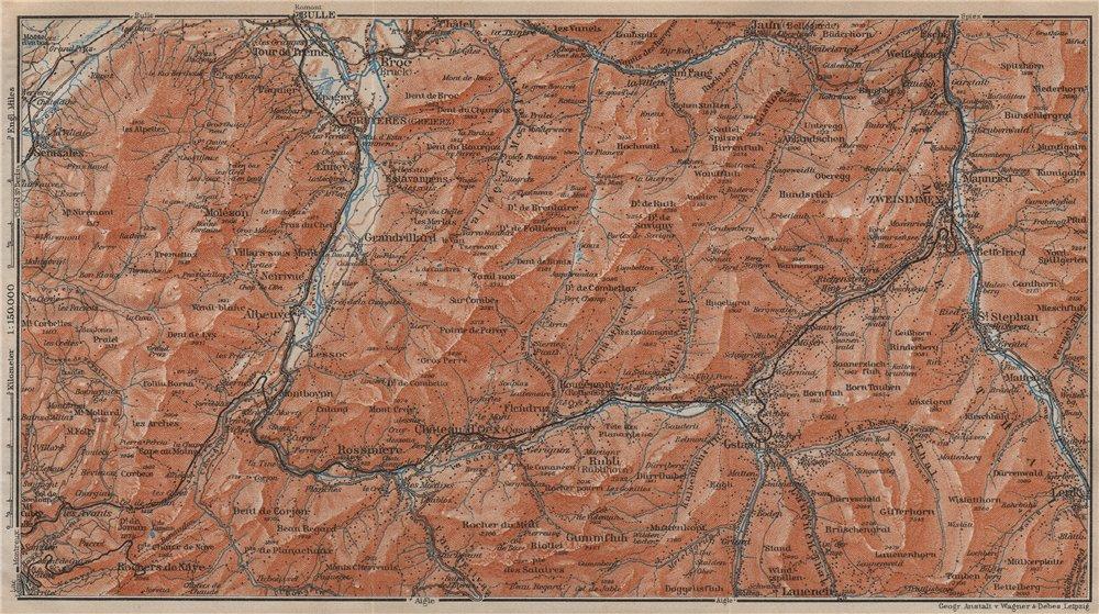 Associate Product SAANEN/SARINE & SIMME VALLEYS. Gstaad Château-d'Oex Saanenmöser Lenk 1913 map