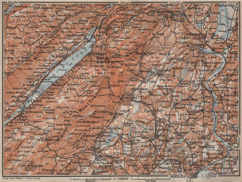 Associate Product WESTERN JURA. Morges Cossonay Vaulion Mont Risoux/Tendre Lac de Joux 1913 map