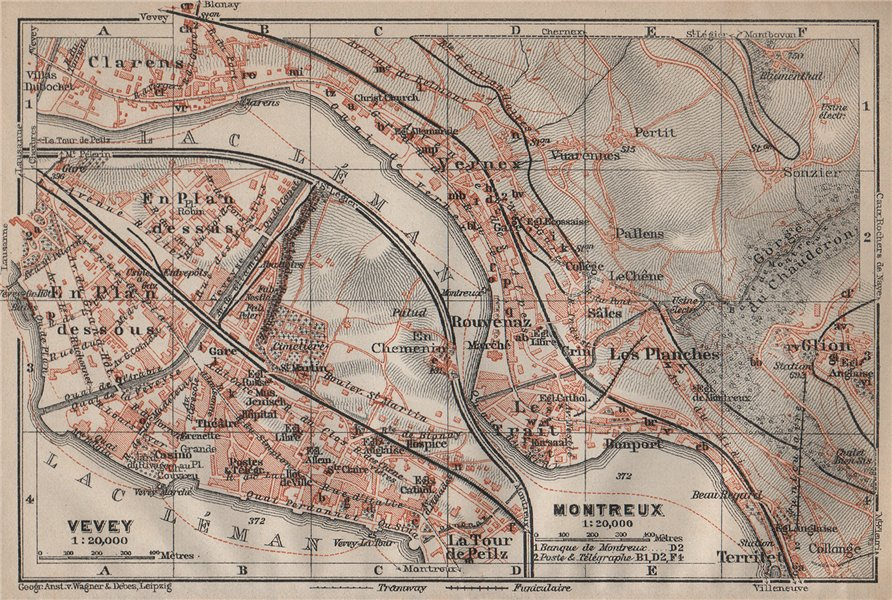 Associate Product MONTREUX. VEVEY. Clarens. town city plan. Switzerland Suisse Schweiz 1913 map