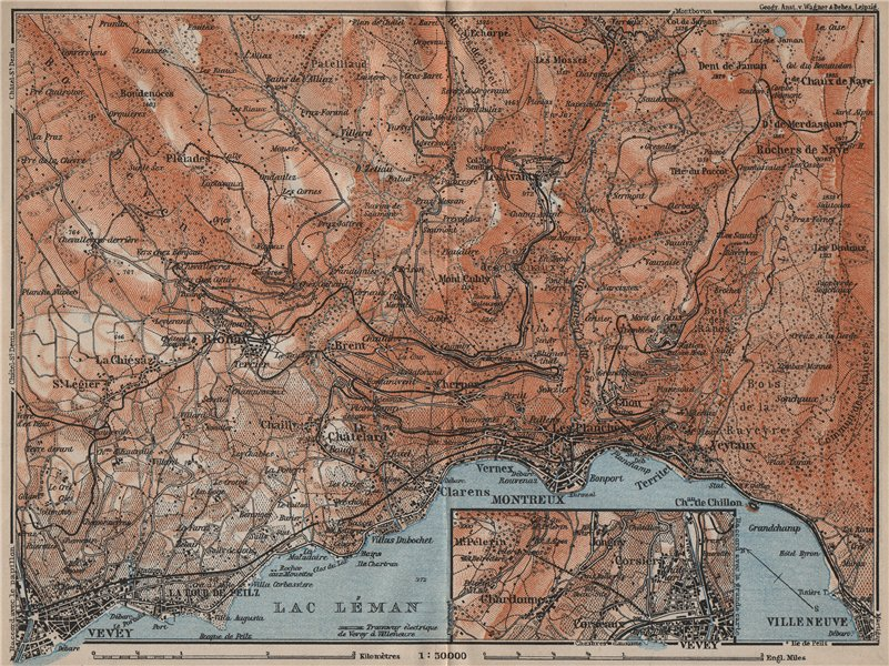 Associate Product MONTREAUX AREA. Vevey Villneuve. Topo-map. Switzerland Suisse Schweiz 1913