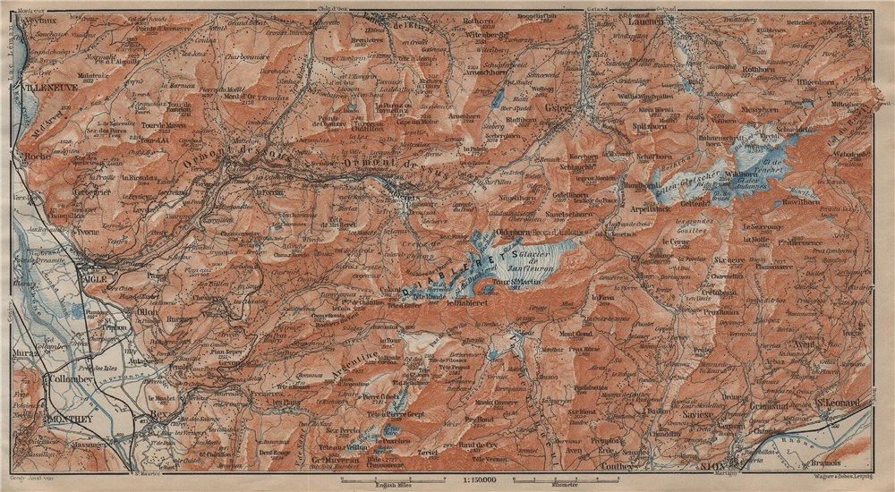 AIGLE DISTRICT.Les Diablerets Villars Gryon Leysin Les Mosses Ormont 1913 map