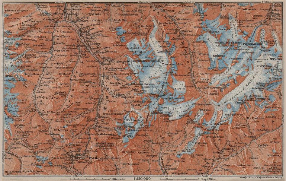 Associate Product GRAND ST BERNARD ENVIRONS Arolla Grand Combin Massif Orsières Mt Velan 1913 map