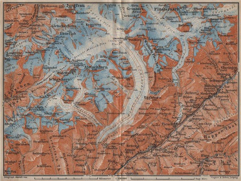 Associate Product ALETSCHHORN DISTRICT. Fiesch Mörel Jungfrau Nesthorn Grengiols 1913 old map