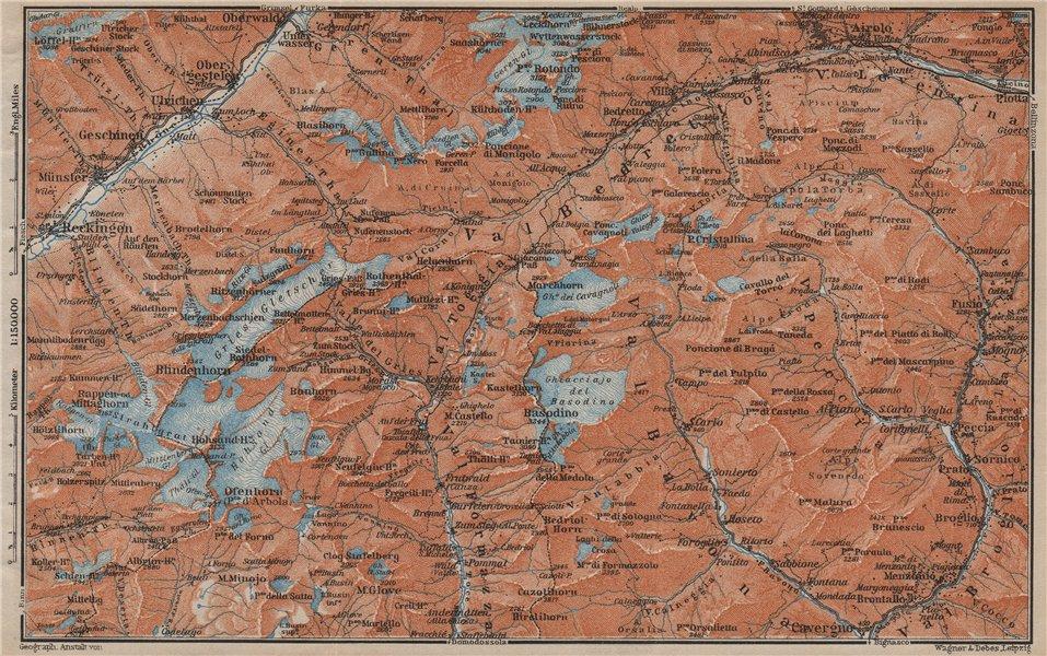 Associate Product GRIES PASS & NW TICINO ALPS. Val Bedretto Airolo Basodino Ofenhorn 1913 map