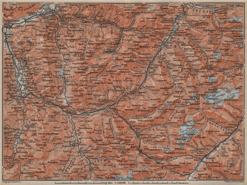 Associate Product GRAUBÜNDEN/ALBULA ALPS. Chur-Samedan. Arosa Lenz Davos Savognin Thusis 1913 map