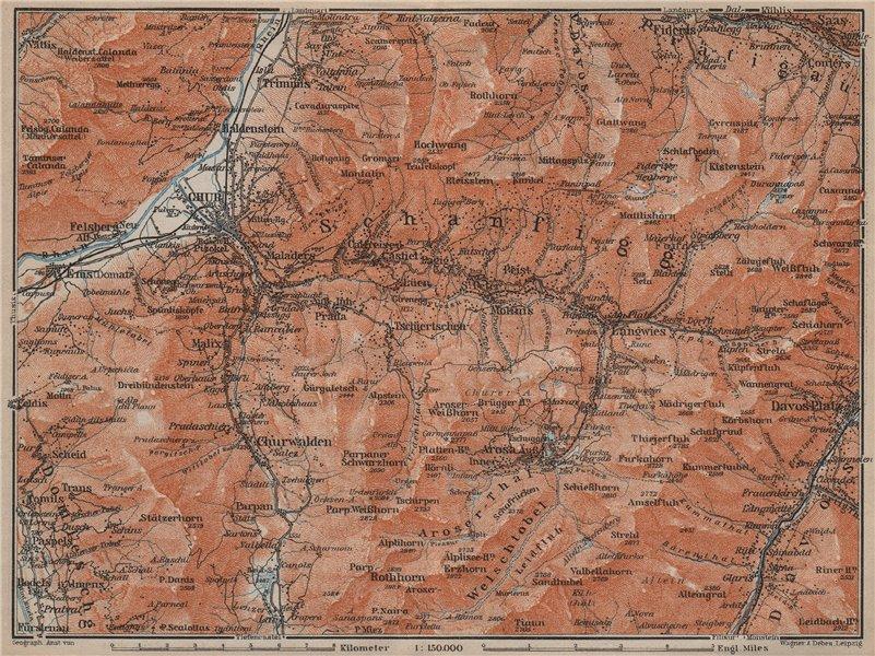 Associate Product COIRE/CHUR SCHANFIGG AROSA ENVIRONS. Davos Klosters Lenzheide Trimnns 1913 map