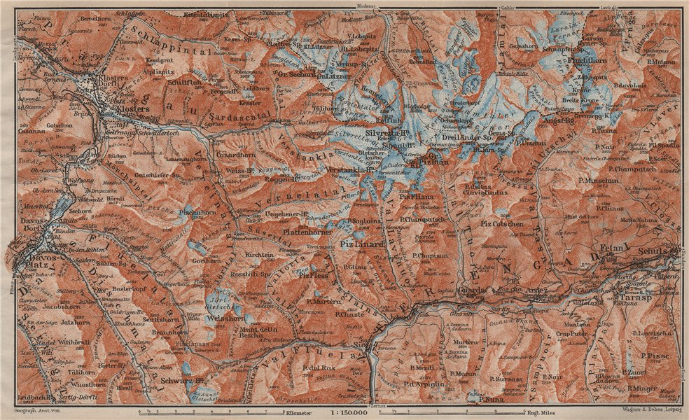 Associate Product SILVRETTA GROUP. Klosters Davos Ftan Scuol Fluchthorn Lower Engadin 1913 map