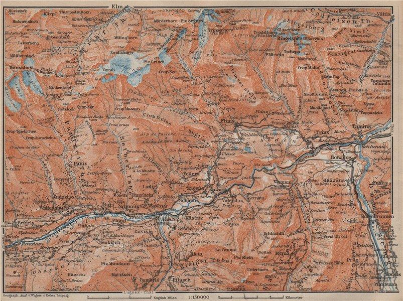 Associate Product ILANZ & FLIMS AREA. Laax Obersaxen Mundaun Brigels Waltensburg Tamins 1913 map