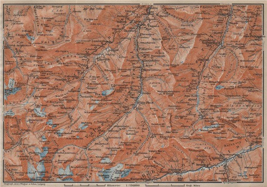 Associate Product LUGNETZTAL SURSELVA. Valserrhein Furketlihorn Hinterrhein Splügen 1913 old map