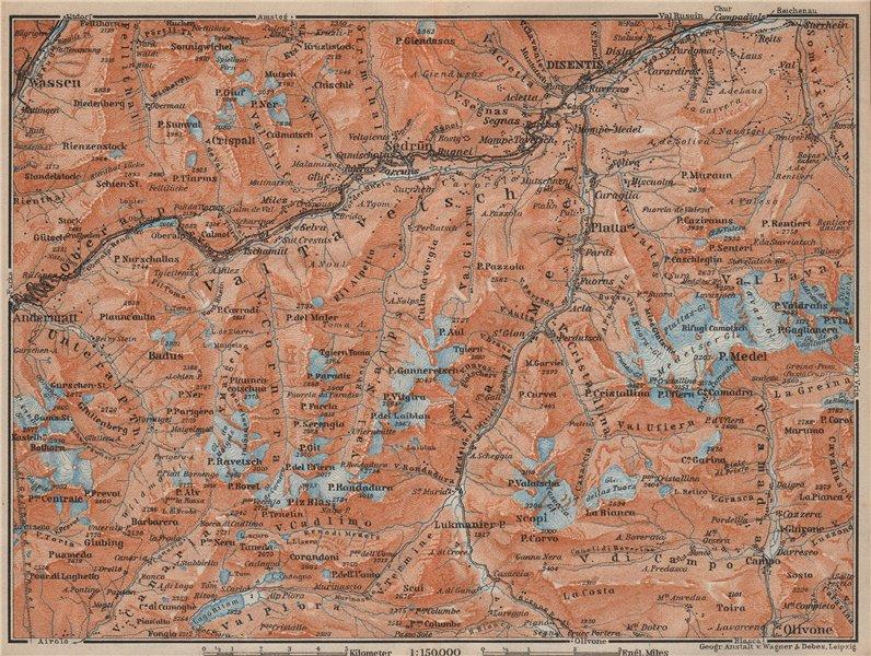 Associate Product VAL TAVETSCH/MEDEL. Andermatt Disentis Sedrun Wassen Piz Medel. Topo-map 1913
