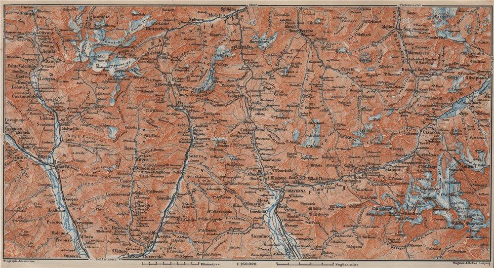 LUKMANIER to MALOJA.Sils Maria Bivio Madesimo Chiavenna San Bernardino 1913 map
