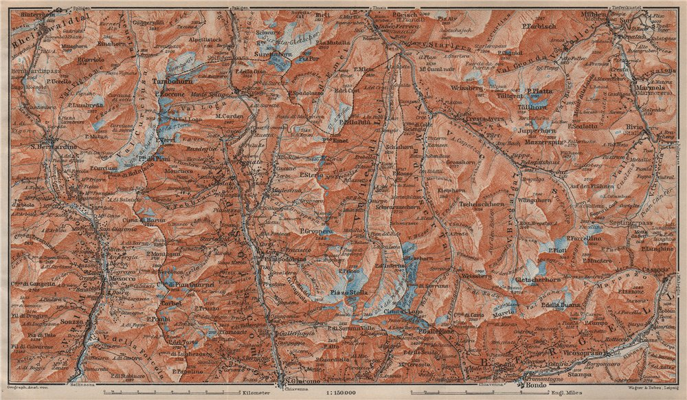 Associate Product SPLÜGEN-BONDO. Madesimo San Bernardino Mesocco Tambohorn Surettahorn 1913 map