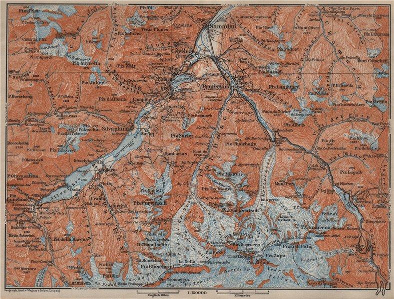 Associate Product UPPER ENGADINE. St Moritz Celerina Pontresina Sils-Maria Bernina Range 1913 map