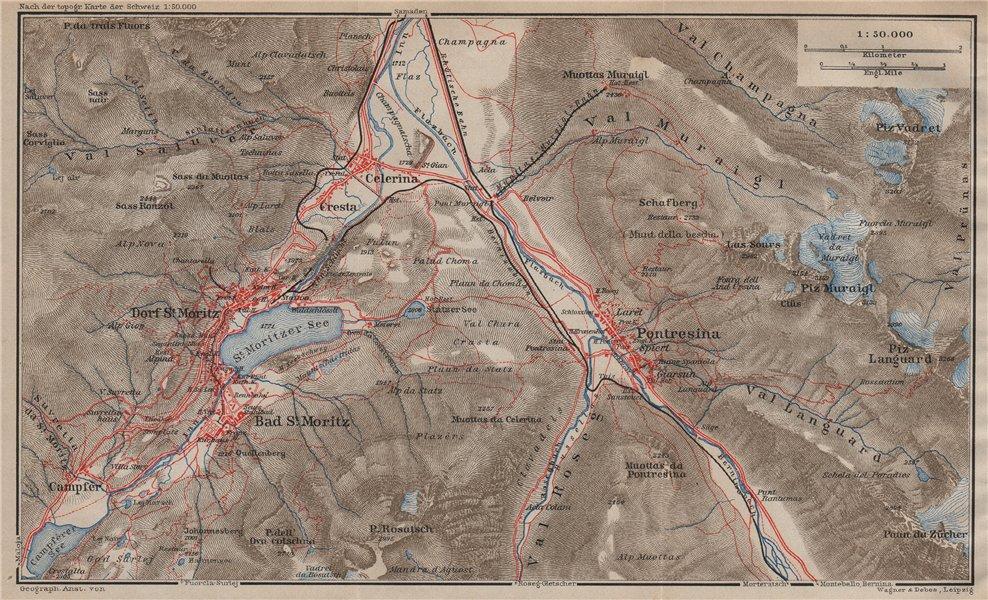 Associate Product ST MORITZ & PONTRESINA. Celerina Cresta Piz Vadret/Muraigl/Languard 1913 map