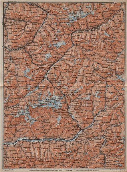 ENGADINE/VAL TELLINA. Davos Arosa Sils Bormio Livigno Sondrio Chur 1913 map