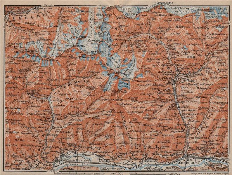Associate Product VAL MASINO/BREGAGLIA ALPS. Disgrazia Caspoggio Tellina Malenco Sondrio 1913 map