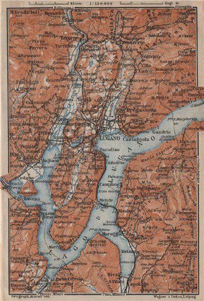 Associate Product LUGANO ENVIRONS. Lake Lago di. Topo-map. Switzerland Suisse Schweiz 1913