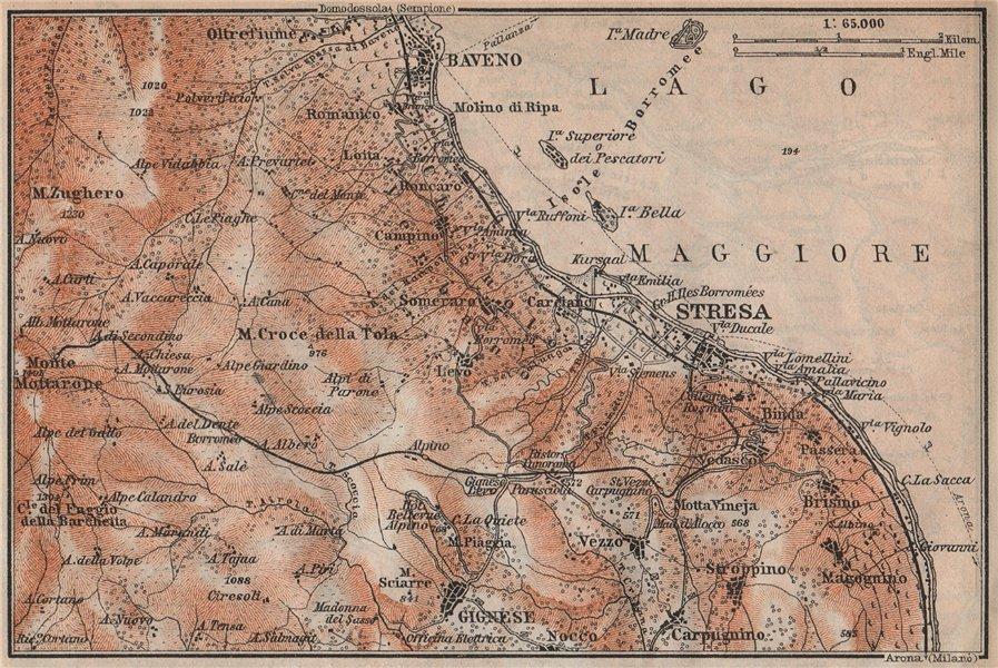 STRESA ENVIRONS. Baveno Gignese. Italy mappa. BAEDEKER 1913 old antique