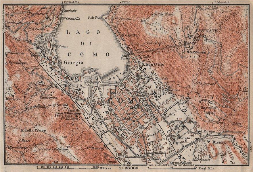 Associate Product COMO ENVIRONS. Brunate San Giorgio. Italy mappa. BAEDEKER 1913 old antique