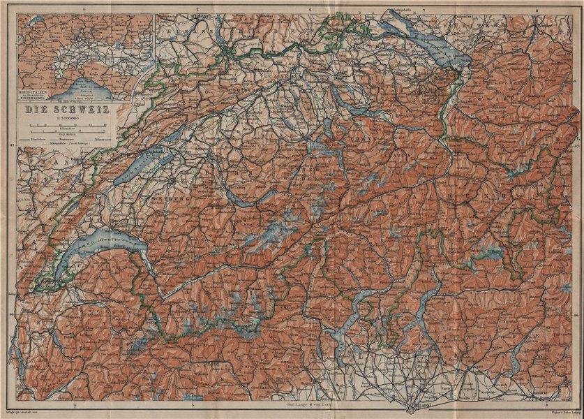 Associate Product Map of Switzerland Suisse Schweiz. Northern Italy railways carte karte 1920