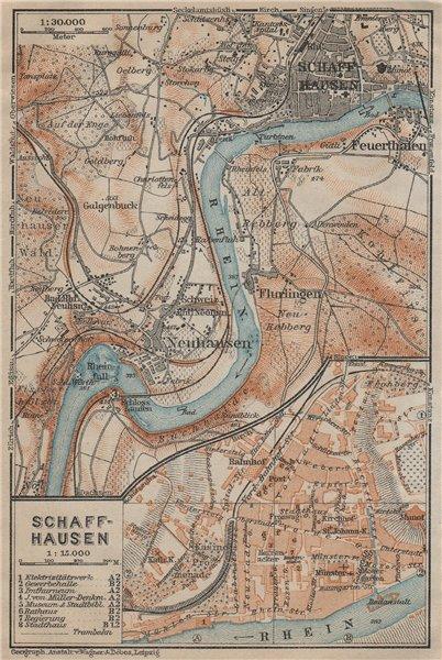 Associate Product SCHAFFHAUSEN environs. Flurlingen Feuerthalen Neuhausen. Schweiz 1920 old map