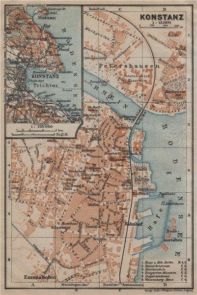 Associate Product CONSTANCE. KONSTANZ. town city stadtplan. Germany karte. BAEDEKER 1920 old map