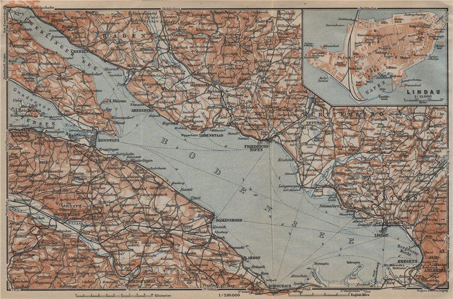Associate Product LAKE CONSTANCE inset LINDAU. Konstanz St Gallen Bregenz. Topo-map 1920 old