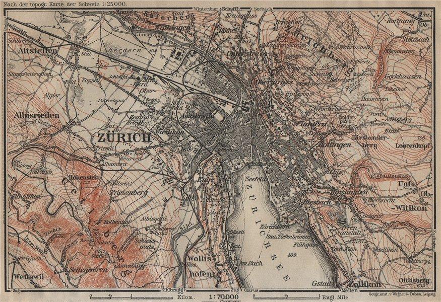 Associate Product ZÜRICH ENVIRONS. Zurich. Switzerland Suisse Schweiz carte karte 1920 old map