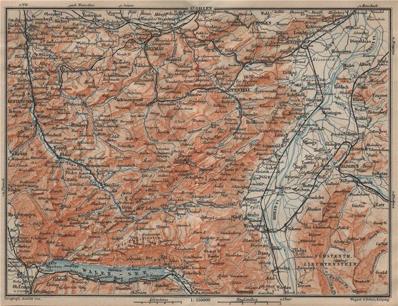 Associate Product APPENZELL CANTON. Wildhaus Unterwasser St. Gallen Trogen Walensee 1920 old map