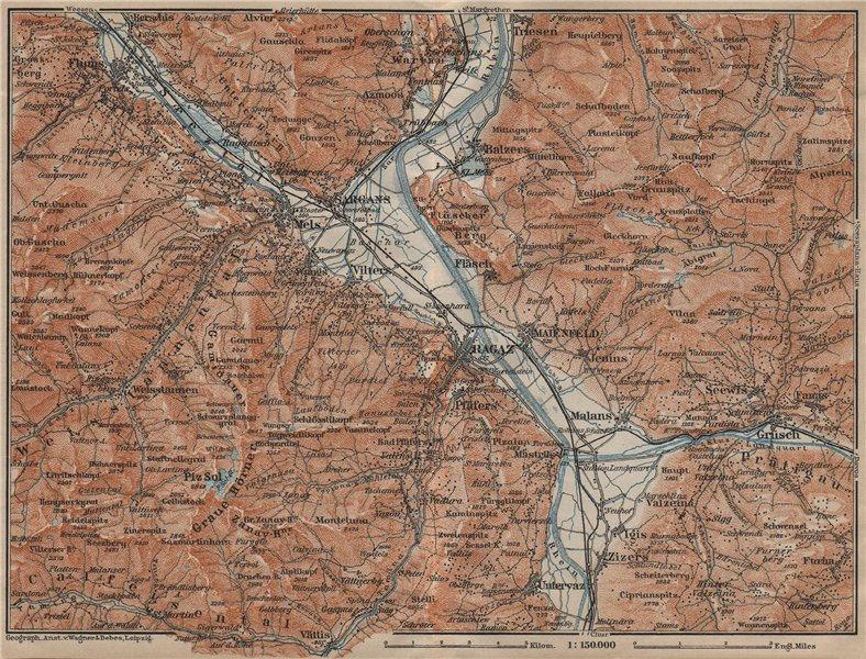 Associate Product BAD RAGAZ. Malbun Flums Wangs Pizol Sargans Grusch Malans Maienfeld 1920 map