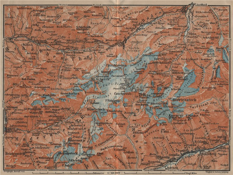 Associate Product TÖDI DISTRICT. Glarus Alps Linththal Bifertenstock Claridenstock 1920 old map