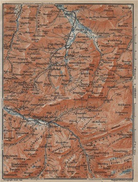 Associate Product MUOTATHAL PRAGEL & SIHLTAL. Silbern Liedernen (Kaiserstock) Iberg 1920 old map