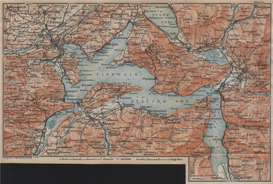 Associate Product LAKE LUCERNE Vierwaldstättersee. Luzern Stans Weggis Brunnen Schwyz 1920 map