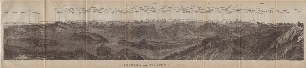 Associate Product PANORAMA from/von PILATUS. Vierwaldstättersee. Lake Lucerne. Schweiz 1920 map