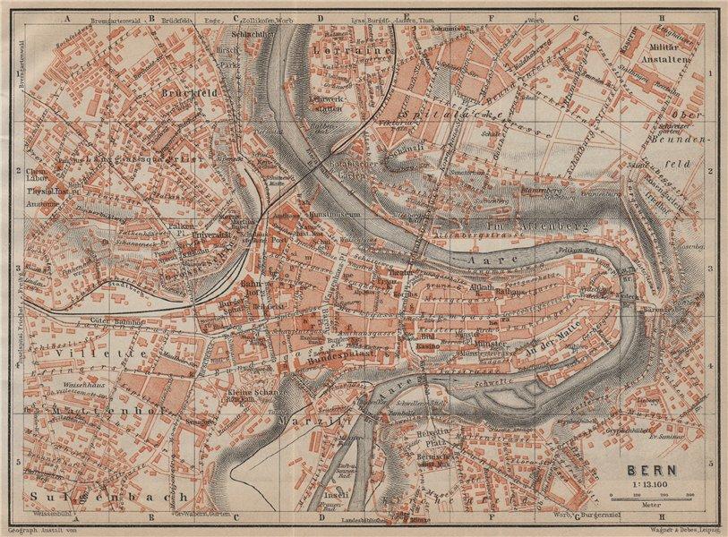 Associate Product BERN BERNE. town city stadtplan. Switzerland Suisse Schweiz. BAEDEKER 1920 map