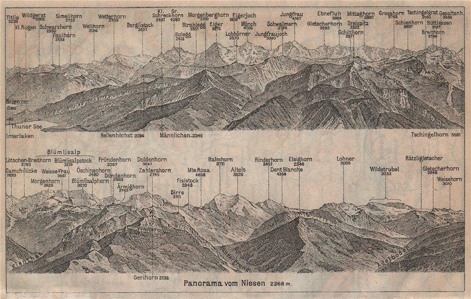 PANORAMA from/von NIESEN 2366m. Blumisalp Jungfrau Switzerland Schweiz 1920 map