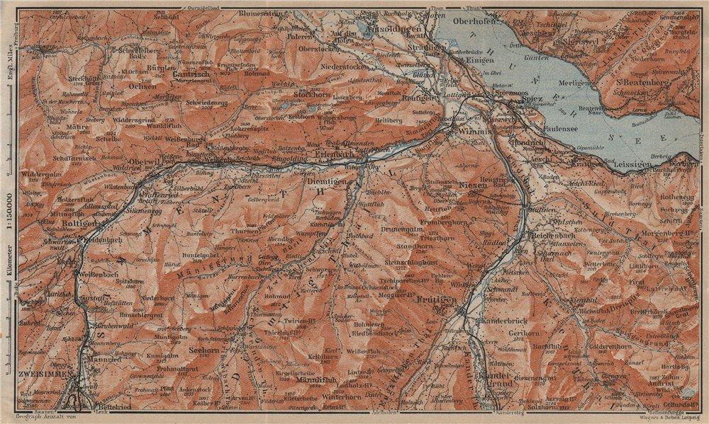 Associate Product THUNER SEE. SIMME/KANDER VALLEYS. Gantrisch Spiez Frutigen Oberwil 1920 map