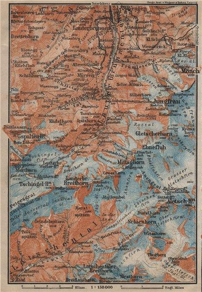 Associate Product UPPER LAUTERBRUNNEN VALLEY/WALL. Mürren Grosshorn Breithorn Jungfrau 1920 map