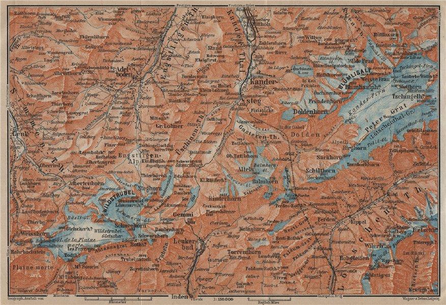 Associate Product KANDERSTEG area.Blumisalp Adelboden Wildstrubel Rinderhorn Torrenthorn 1920 map