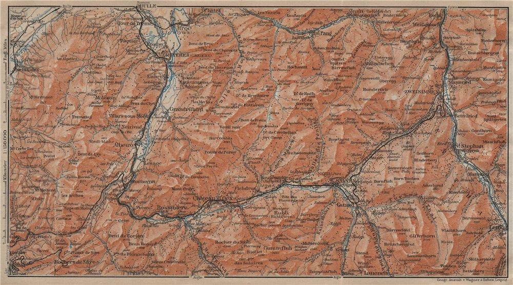 Associate Product SAANEN/SARINE & SIMME VALLEYS. Gstaad Château-d'Oex Saanenmöser Lenk 1920 map