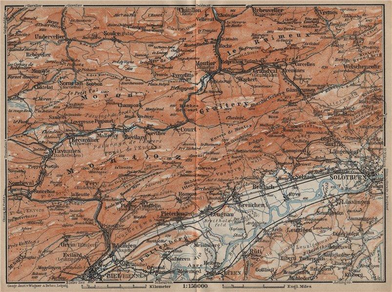 Associate Product BERNESE JURA. Solothurn Biel/Bienne Rebeuvelier Tavannes. Topo-map 1920