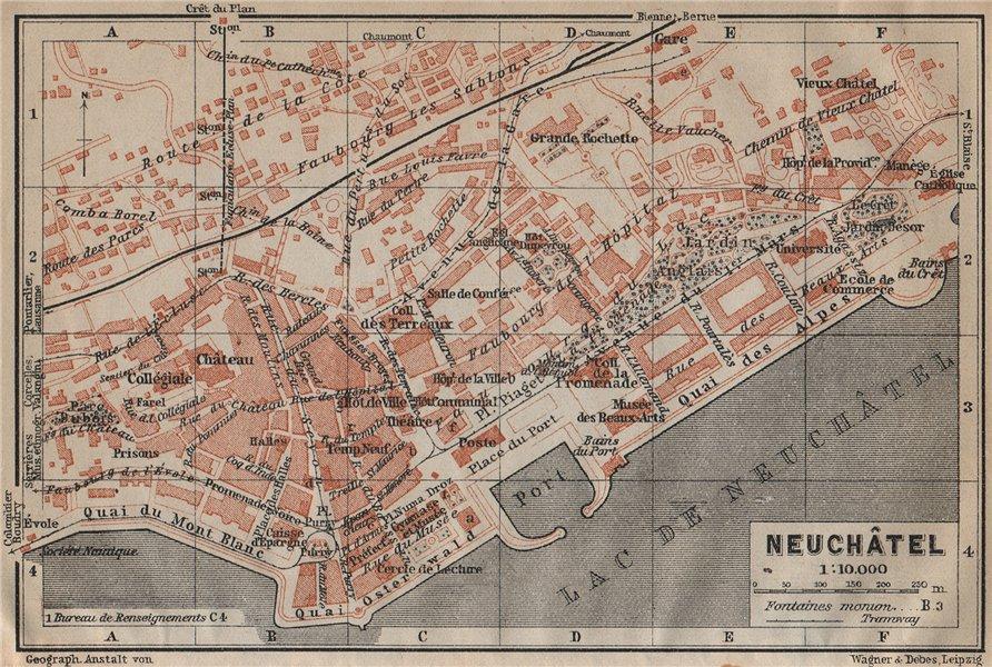 NEUCHÂTEL / NEUENBURG. town city plan. Switzerland Suisse Schweiz 1920 old map