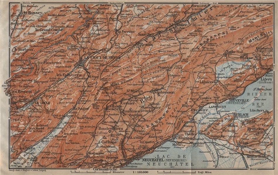 Associate Product NORTH WEST JURA. Neuchâtel La Chaux de Fonds Neuveville. Topo-map 1920 old