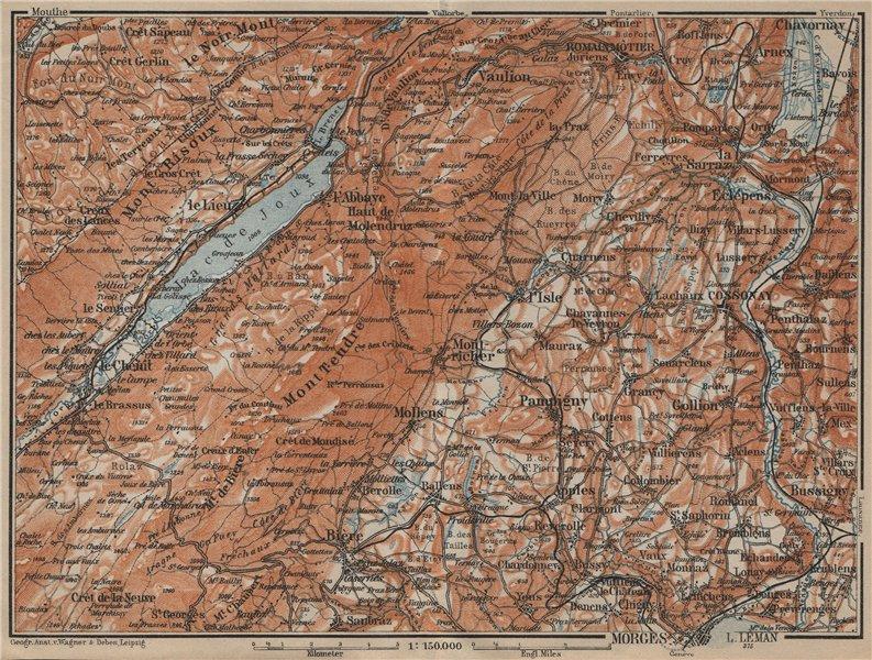 Associate Product WESTERN JURA. Morges Cossonay Vaulion Mont Risoux/Tendre Lac de Joux 1920 map
